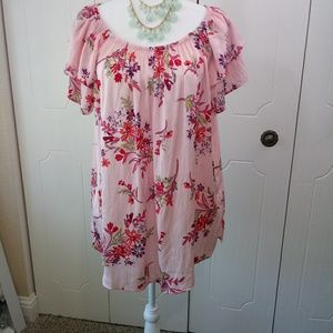 Terra & Sky Pink Floral Shirt Size 0X(14W)